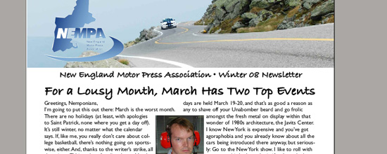 NEMPA VP Keith Griffin has a round up of the what's new in the New England Motor Press world