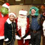 Holiday characters: The Grinch (ably portrayed by Hyundai's Joe Guy Collier, who in fact stole nothing, much less Christmas), Mercedes-Benz elf Elizabeth Williams, jolly St. Nick himself, Newport Concours founder Mark Hurwitz and, in reindeer drag, photographer Greg Jarem.