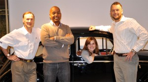 From left: Mark Gillies, Darryll Harrison, Leigh Anne Sessions and Corey Proffitt with a vintage VW product.