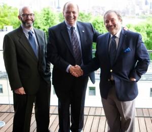 NEMPA President Craig Fitzgerald (left) and veteran NEMPA board member John Lawlor (right) congratulate MotorWeek's John Davis for his Lifetime Achievement Award, presented at MIT on Thursday, May 29, 2014.