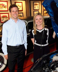 Ford's Aaron Miller and Lisa Schoder in one of Automotion's galleries.