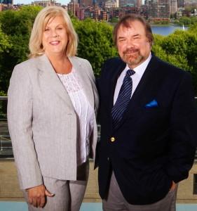 Camel's Back Award winner Lori Scholz, Hyundai Motor America's public-relations manager, and John Lawlor at MIT on May 29, 2014.