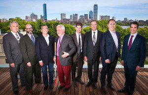 Tech Conference VIPs on the MIT Media Lab 6th-floor deck, overlooking the Charles River and the Boston skyline. From left: John Paul, NEMPA; Craig Fitzgerald, NEMPA; Danny Shapiro, NVIDIA; Paul Parravano, MIT; Bryan Reimer, MIT; John Capp, GM; Jeff Ruel, Autoliv; John Bozzella, Global Automakers