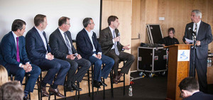 Q&A session. L to R: John Bozzella, Jeff Ruel, John Capp, Danny Shapiro, Bryan Reimer, moderator John Paul