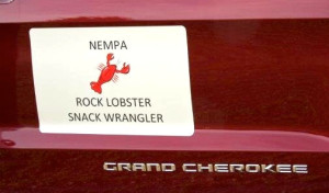 At the rest stop in New Hampshire there were snacks and cold drinks, courtesy of Chrysler's Lisa Barrow and the 'Snack Wrangler' EcoDiesel Grand Cherokee she furnished as a support vehicle.