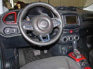 The nine-speed-automatic Renegade's front office