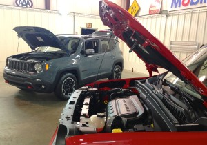 Renegade power comes from one of two four-cylinder engines, a 1.4-liter turbo or an unpressurized 2.4-liter. The red front tow hooks have become a Trailhawk signature element.