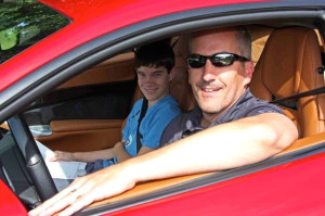 Audi's John Schilling and son Owen managed to draw the F12berlinetta for the run to New Hampshire.