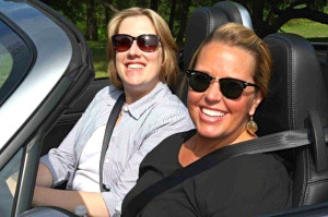 More smiles: TotalFanGirl Nicole Wakelin (NEMPA, left) and Vanessa Cook (Ford/Capitol Direct) got some sun in one of the Mazda Miatas.
