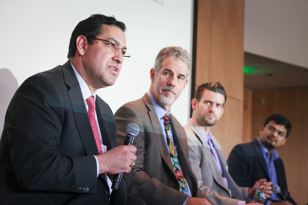 (Left to Right) Bryan Garcia, President & CEO, Connecticut Green Bank, First Element Fuel; Robert R. Wimmer, Director, Energy & Environmental Research Group, Toyota Motor North America; Stephen Zoepf, Doctoral Researcher, Sloan Automotive Laboratory, MIT